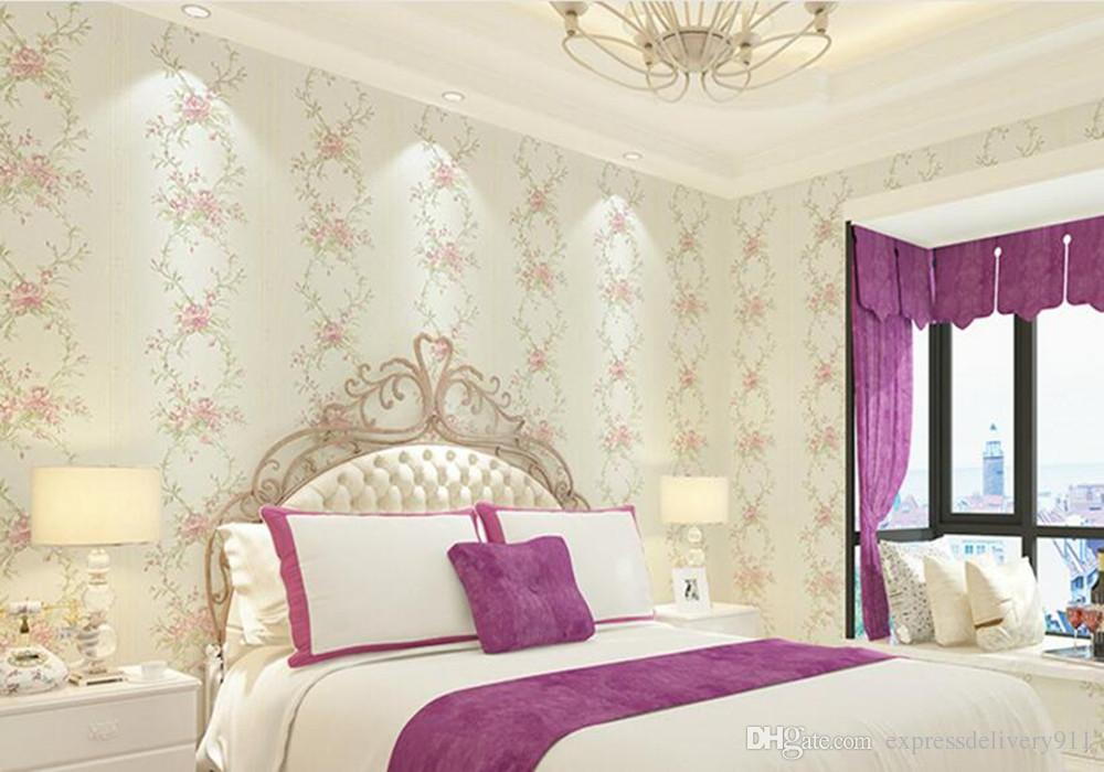 Non Woven Pastoral Modern Wallpaper Bedroom Luxury Decoration Home Decor  FabricTop 3D Flower Wall Paper 0.53*10 Standard Size Wallpaper Canada 2019  ...