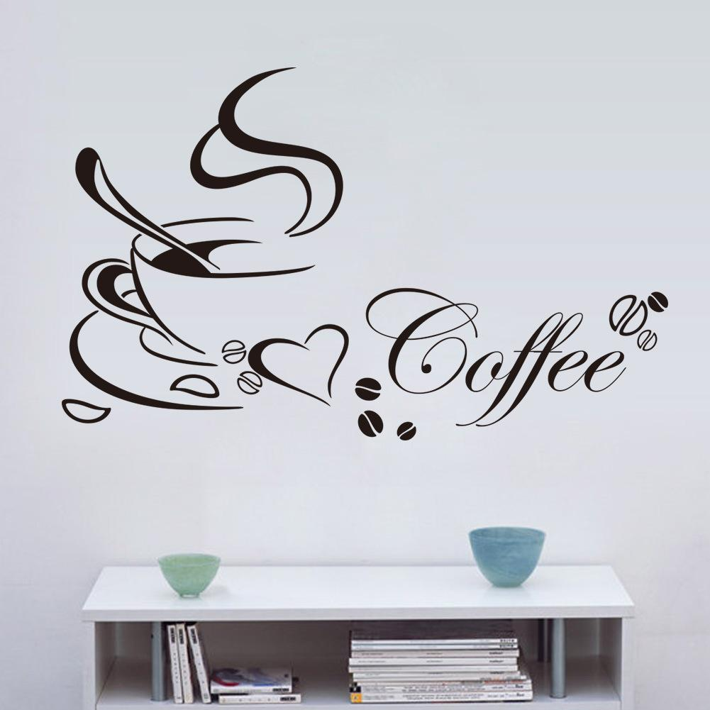 PVC Love coffee pattern wall stickers living room bedroom TV sofa ...