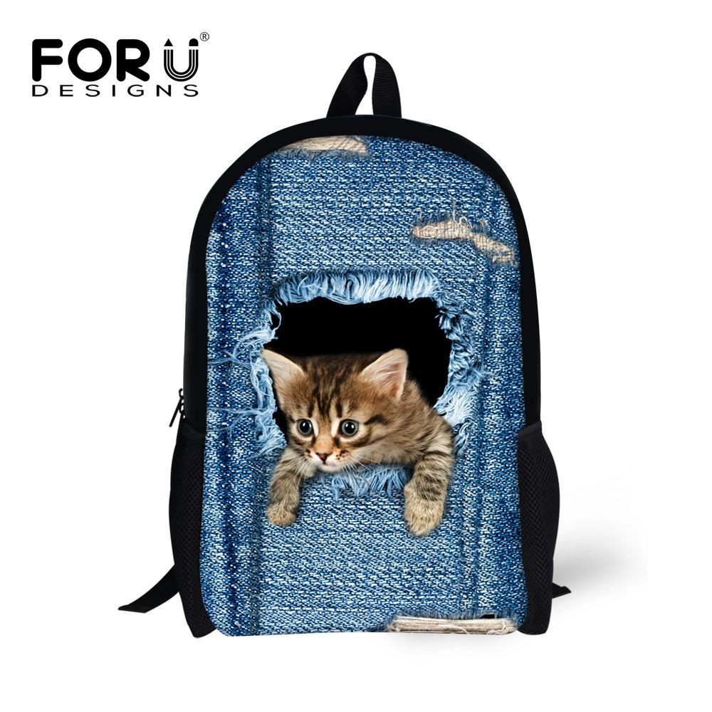 Forudesigns Children School Bags For Teenage Girls Cute Denim Cat Dog Schoolbags Kids Bookbag 3d Cartoon Animal Backpack Mochila
