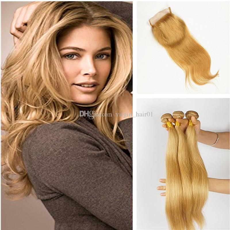 Honey Blonde Straight Hair Bunldes With Lace Closure #27 Brown Blonde Lace Closure With Straight Hair Weave Peruvian Virgin Hair Wefts