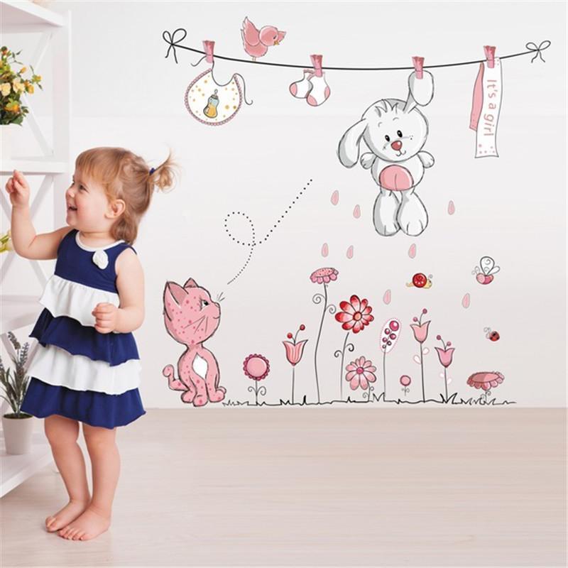 Cute Hang Clothes Coniglio Gatto Rimovibile Murale Scuola materna Nursery Bambini Bambino Bambino Camera da letto Decor Autoadesivo Wall Sticker Decal