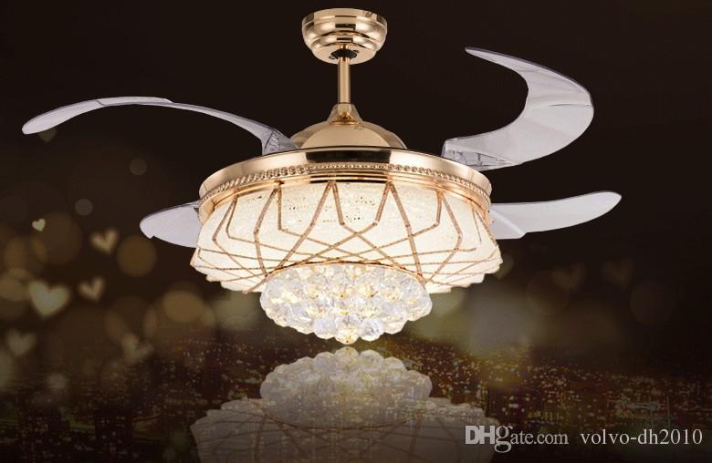 LED Nowoczesny stop alloi kryształ Akrylowy sufitowy wentylator LED Lamp.led Light.ceiling Lights.led sufit światła lampy dla foyer sypialni LLFA
