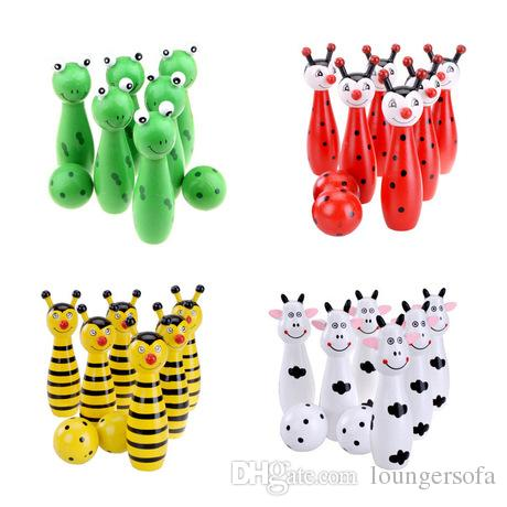 Pins Wooden Bowling Ball Small Net Bag Cartoon Animal Shape Game For Kids Children Toy 4 Color Optional 10wp F