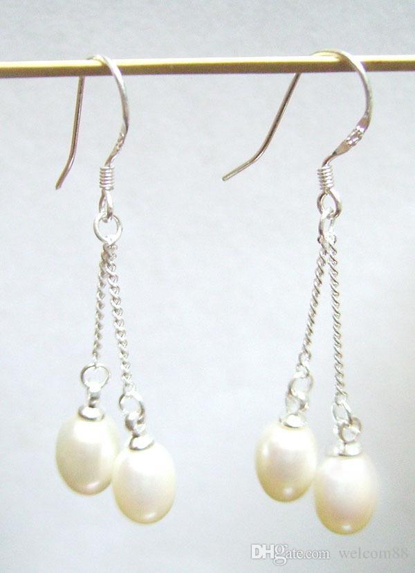 10Paies / Lot White Pearl Серьги с белыми жемчужками Серьсовая Люстра Серебряный крючок для DIY Подарочный ремесло Ювелирные изделия C2 7x9mm