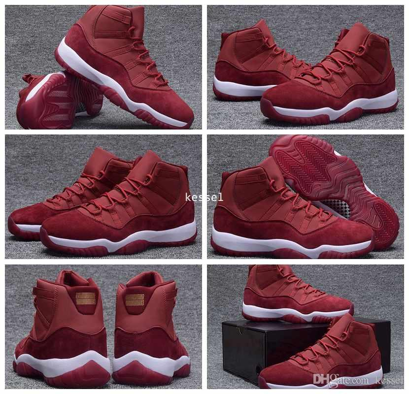 2017 Cheap 11 XI Red Velvet Heiress Mens Basketball Shoes High Cut Wool Sneakers 11s Trainers Athletics Man Sports Shoe Size US 7-13