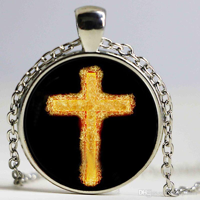 Verde colar de pingente de colares espiritual do vintage jesus religiosa jóias pagan colar de vidro cúpula mulheres acessórios