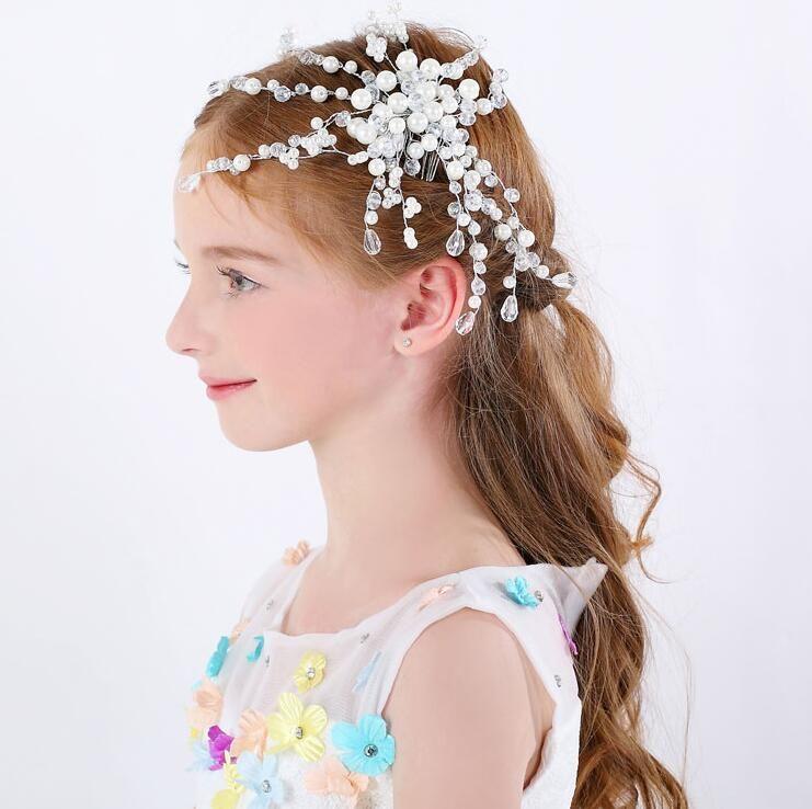 Pearls Beaded Girls Head Pieces Children Hair Flower
