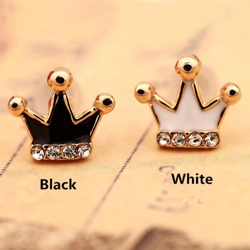 KOVTIA Joyería Encantadora Pendientes Con Coronas En Blanco Y Negro Clip Para Las Mujeres Puños Del Oído Sin Piercing Joyas Del Partido De Color Dorado