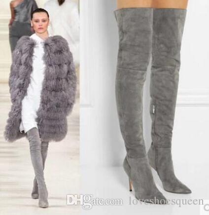 2017 mujeres muslo botas botas polainas estilo señoras zapatos de fiesta vestido de botines alto gladiador sobre la rodilla botas altas punta puntiaguda