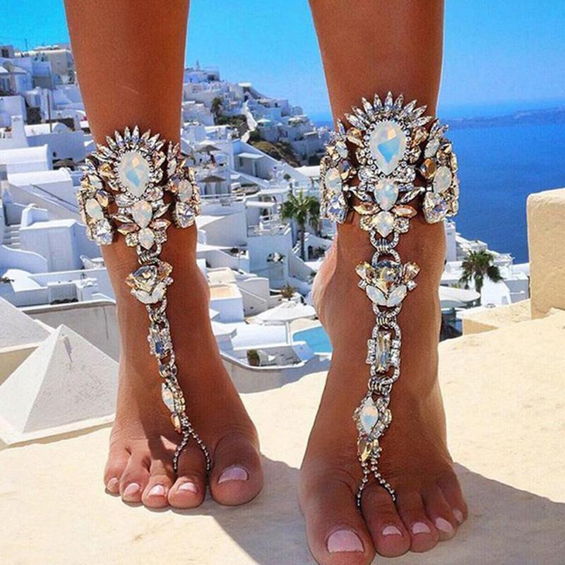 Pulsera de verano para la boda de vacaciones en la playa Sandalias descalzas Joyas de pie de playa Cadena de pierna sexy Boho femenino tobillera de cristal 5 colores