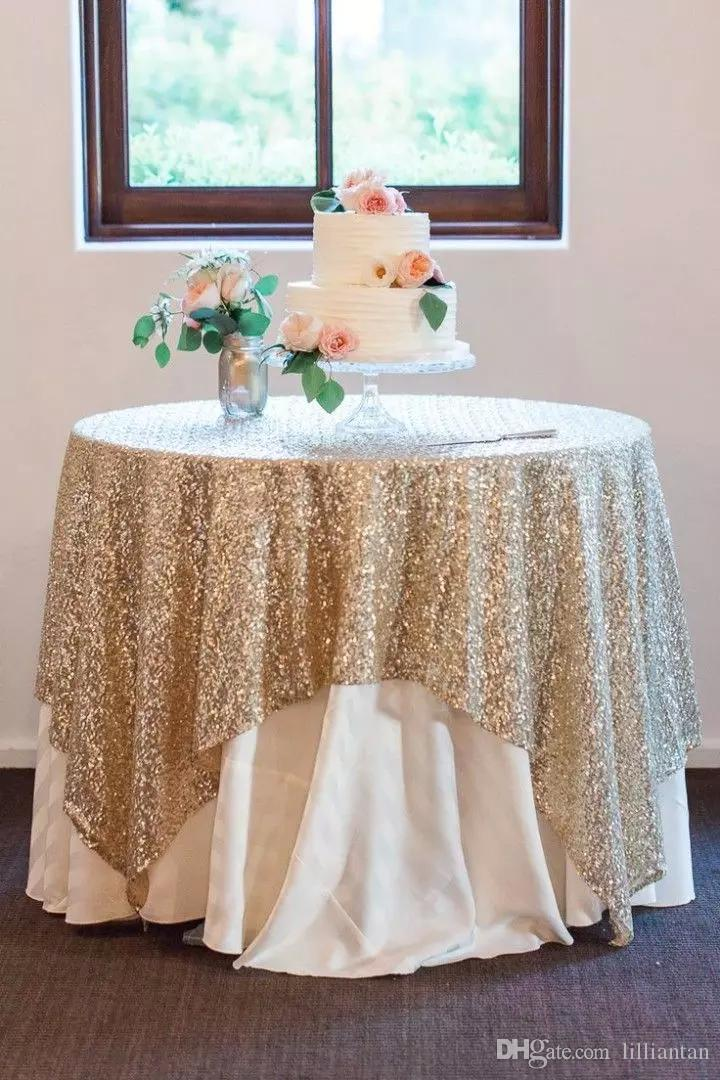 Bling Sequins Round Table Cloth Custom Size Evening Party Wedding Decorations Gold Silver Champagne Glitter Fabric Sequined Table Cloth