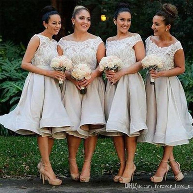 Stunning Country Tea Length Bridesmaids Dresses Plus Size Sheer Bateau Neck Sleeveless Lace Appliques Top Custom Made Bridesmaid Gowns