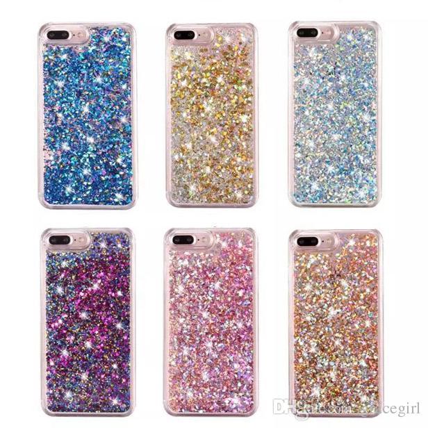 Quicksand Liquid Diamond Etui En Plastique Dur Pour Iphone X XS 8 7 I7 Iphone7 6 Plus 6 S Bling Glitter Feuille D'or Étoile Téléphone Couverture De Peau 100pcs