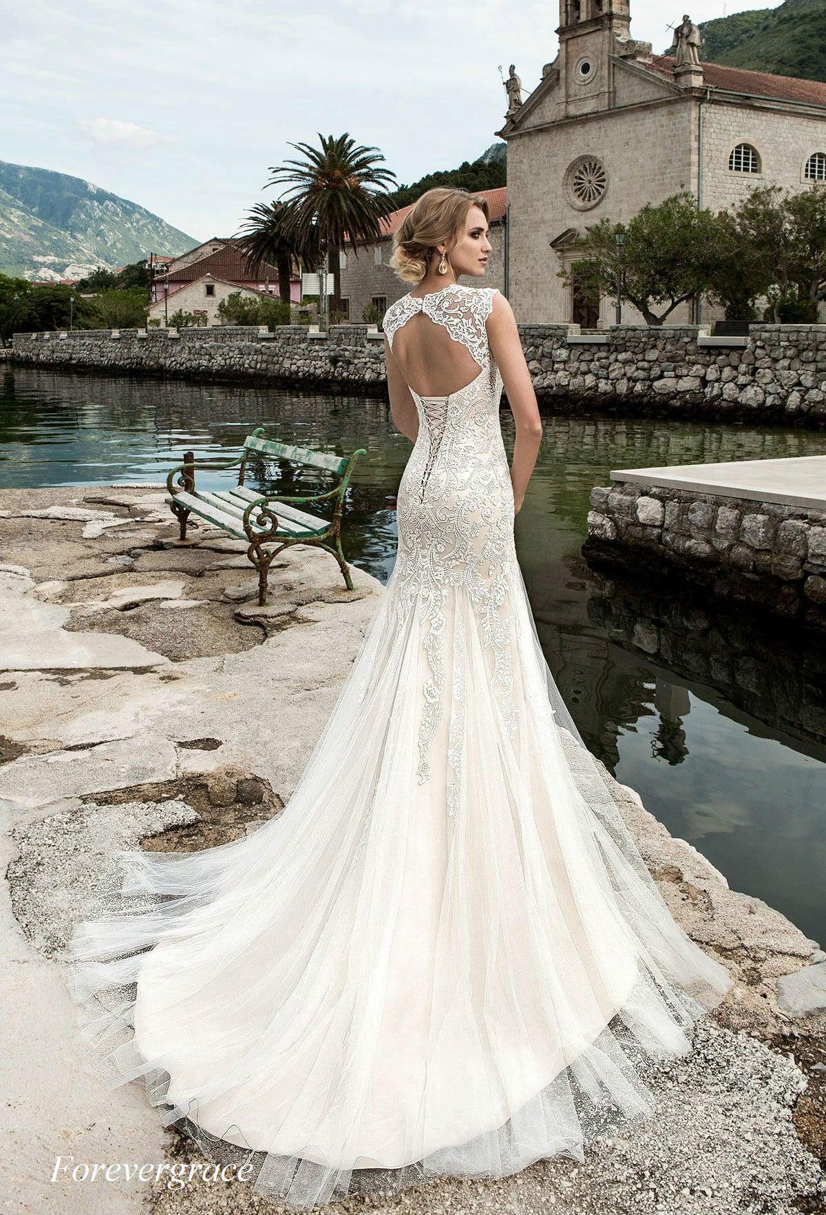 Großhandel Elegante Meerjungfrau Spitze Korsett Zurück Hochzeitskleid Lange  Rundhalsausschnitt Backless Frauen Brautkleid Plus Größe Nach Maß Vestido