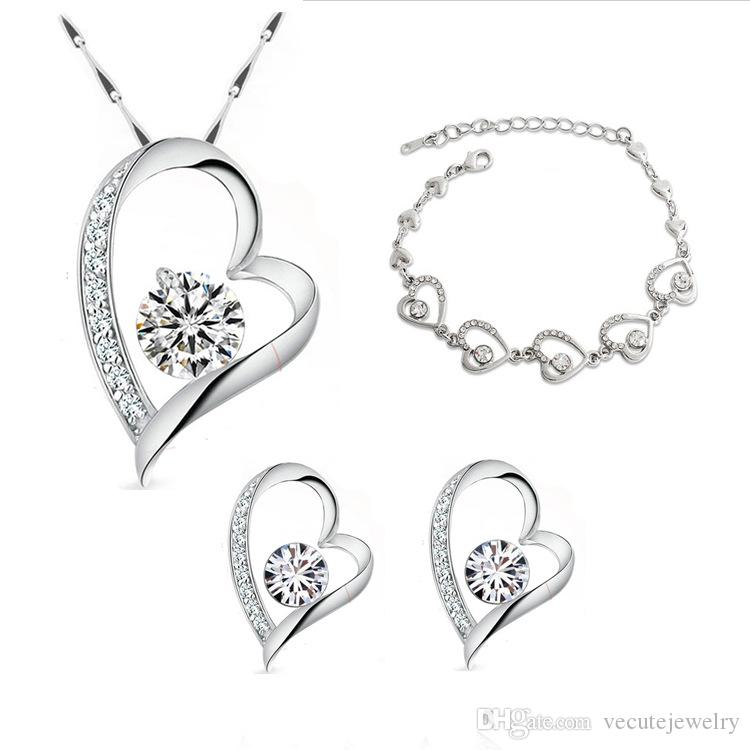 18K Heart Gold Black Bracelet Necklace Set Swarovski Element Gift UK  Jewellery