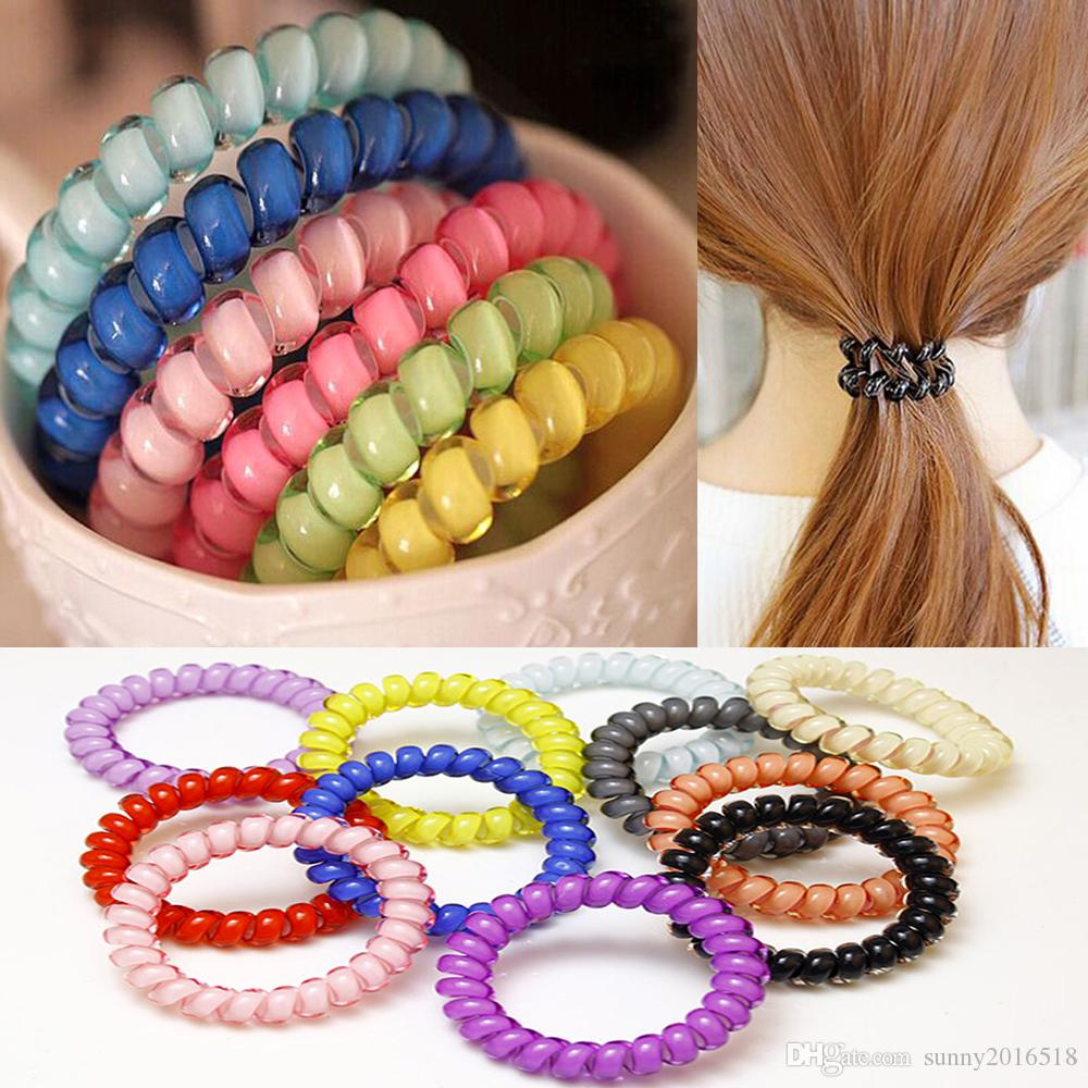 New Doce Cor Telefone Cord Elástica Faixas de Cabelo Headbands Para As Mulheres Acessórios Para o Cabelo Grande Anel de Faixas De Borracha Laços de Cabelo Corda 12 cores