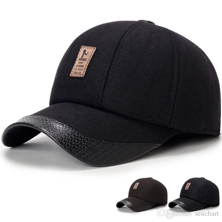 Berretto da baseball da uomo invernale con paraorecchie con cappello freddo aderente Cappuccio caldo Snapbacks Cappello sportivo da esterno per bambini con il miglior regalo SC039