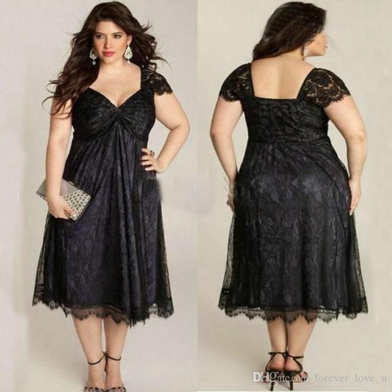 Elegant Mother Of The Bride Dresses Scalloped Short Sleeve Plus Size Black  Lace Mother Of Groom Tea Length Formal Gowns Wedding Guest Dress Mother Of  ...