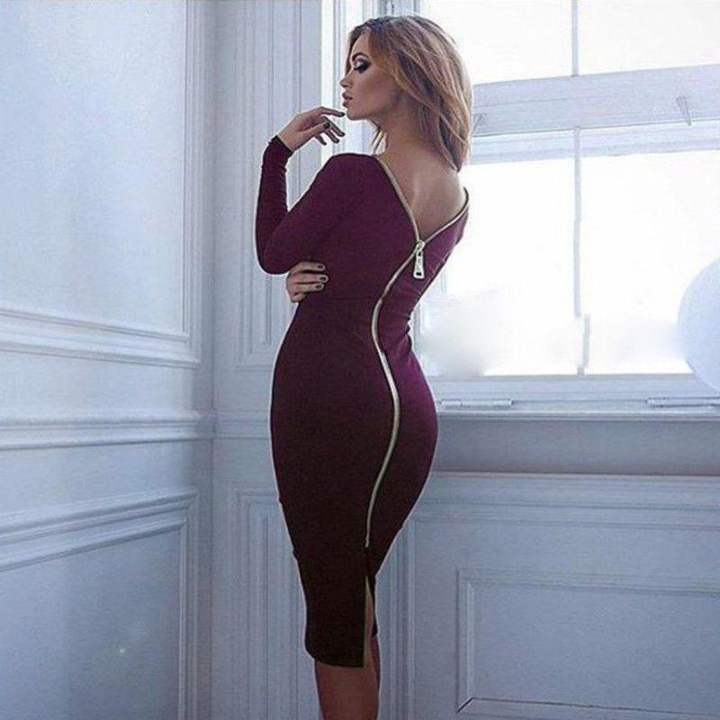Gamiss Bodycon Etuikleid Langarm-Partei Sexy Kleider Frauen Kleidung Back Full Zipper Robe Sexy Pencil enges Kleid Vestidos