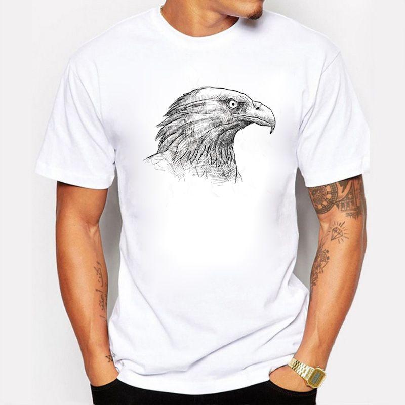 Os Recém-chegados Moda Homens T-shirt Verão Cabeça de Águia Esboço Impresso Homem T Camisa Legal Top Novidade Algodão Tee