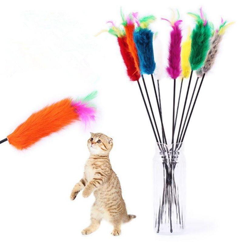 Кролик меха Pet cat игрушки Cat тизер палочка игрушки Pet Dog Cat перо играть игрушки с Белл эластопластиковые продукты поставщик