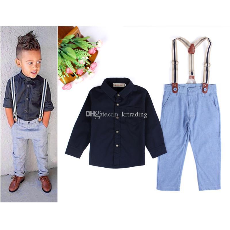 Yakışıklı erkek beyler suit 2 adet set katı renk Toplama Yaka gömlek + askı pantolon Bebekler kıyafetler bebek giysileri için 2-7 T