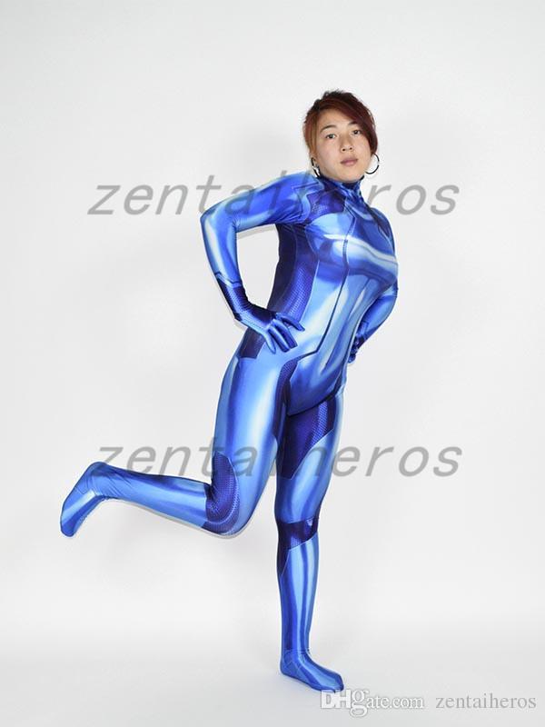 3D Printed Blue Samus Zero Costume Girl Cosplay Zentail Halloween Suit