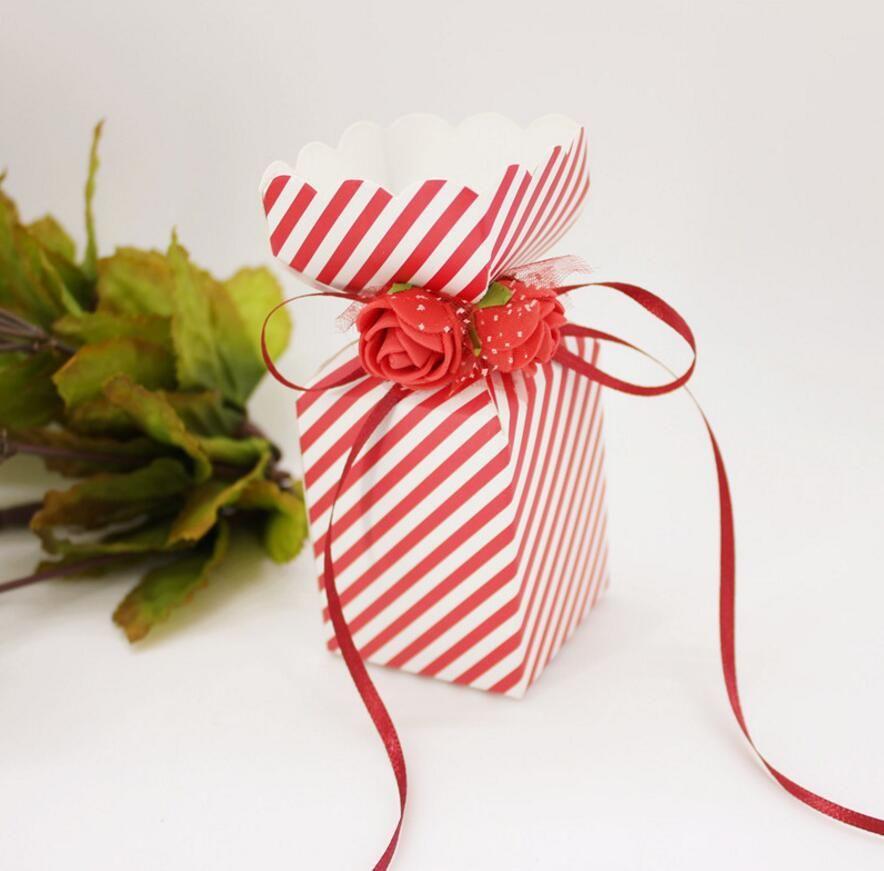 100 pz 12 * 5 * 5 cm PE Rose Flower Candy Box Cioccolatini Scatole Con Nastro Per Festa Nuziale Baby Shower Regalo di favore