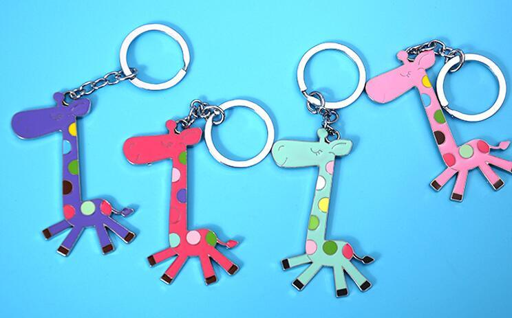 Free shipping Metal cartoon giraffe keychain creative fine key ring pendant can be customized LOGO KR257 Keychains mix order 20 pieces a lot