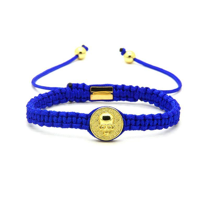 Top Quality Jewelry Wholesale 10pcs/lot Mix Colors Brass New Round Skull Macrame Bracelets for Men