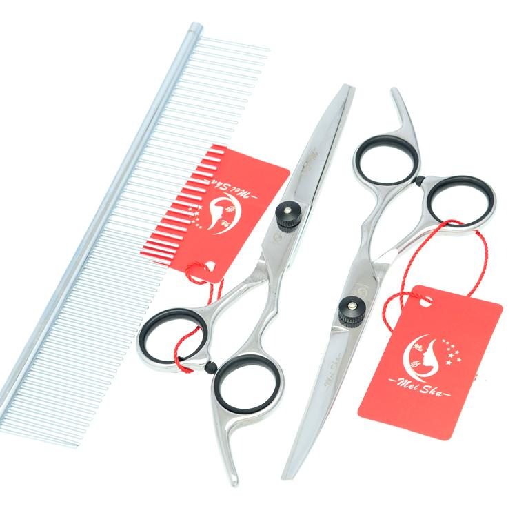 6.0Inch Meisha Sharp Cutting & Thinning & Curved Dog Shears Professional Grooming Scissors Stainless Set Pet Scissors JP440C,HB0022