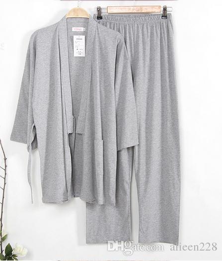 2017 Rushed Limited Pyjama Sets Pyjama Japanischen Stil Kimono Pyjamas Set Männer Schlaf Frühling Herbst Gestrickte 100% Baumwolle Lounge Kleidung Herren