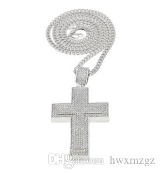 Mens hip hop pop diamond cross pendant full drill double cross 14K Gold necklace
