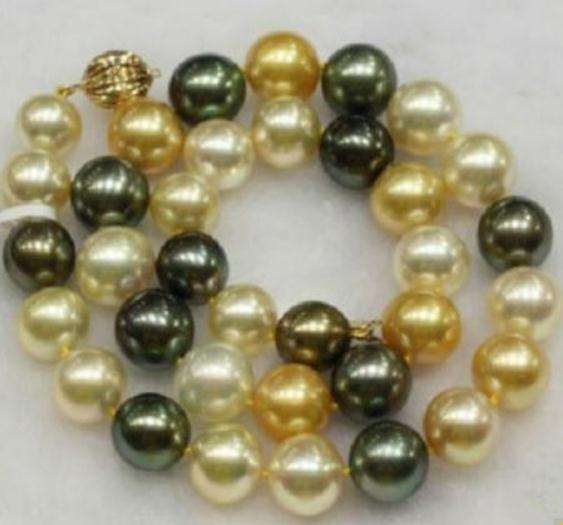 Beautiful 10-11mm South Sea Natural Black White Gold Multicolor Pearl Necklace 19 Inch 14k Gold Clasp
