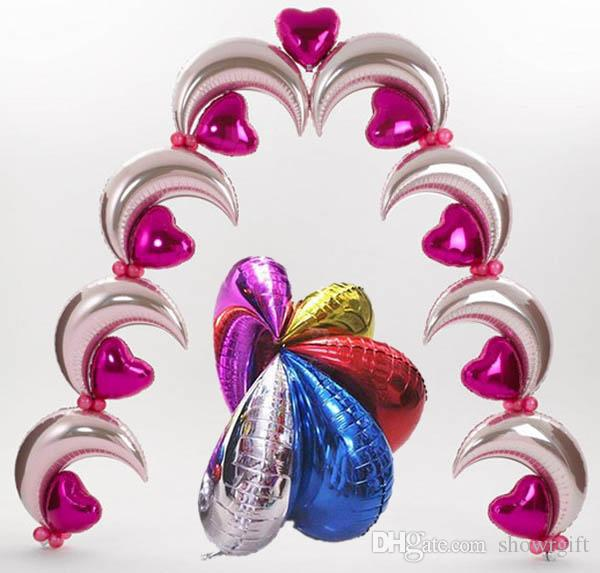 18inch Moon foil balloons Party supplies Event party decoration Birthday celebration favors Good quality 30 pcs/lot wholesale