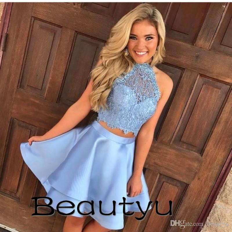 Short Party Dresses For Juniors Homecoming 2018 Cheap Two Piece A Line  Halter Princess Prom Gown Vintage Lace Sexy Mini Cocktail Dress Black  Dresses ...