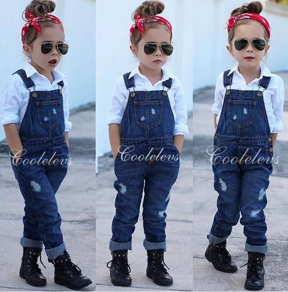 Wholesale- 2016 Fashion girl's clothing set for spring children set baby girl denim suit cotton long sleeve shirt+denim bib pants/jeans