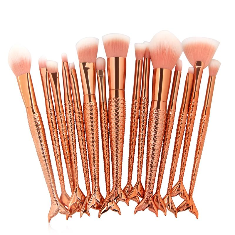 15pcs/set Makeup Brushes Mermaid Shape Handle Design Blush Powder Eyeshadow Eyebrow Eyeliner Eyesocket Nasal Fan Make Up Brush Cosmetic Tool