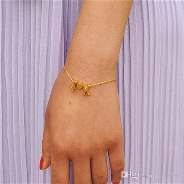 Mode winzige zierliche Herz erste Armband personalisierte erste Armband Buchstabe Armband Name Schmuck Freundin Geschenk