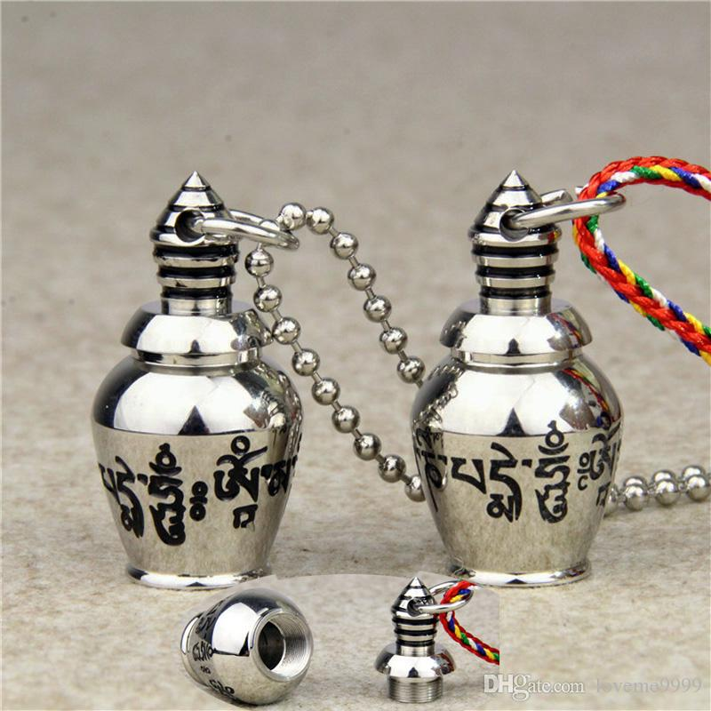 Stainless Steel Can Open Buddhism Faith Jewelry Sanskrit Mantra Stupas Amulet Pendant Necklace For men women Ash Urn Jar Memorial Jewelry