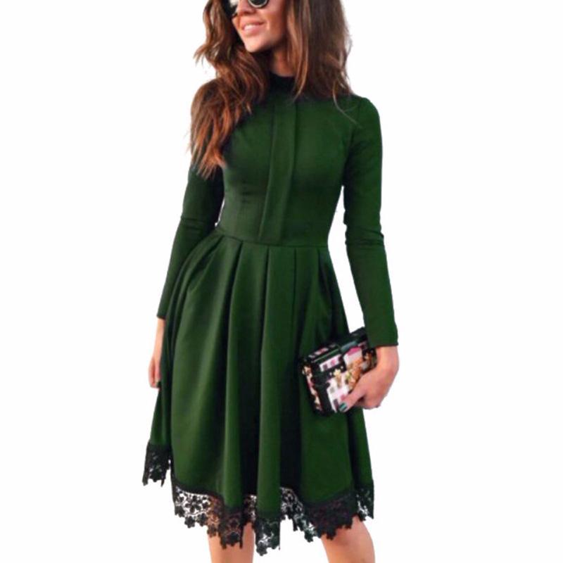Al por mayor-Promoción 2017 Mujeres de la moda del otoño del resorte del vestido de manga larga Sexy Maxi Dresses Green Winter Dress Party Dresses Ucrania