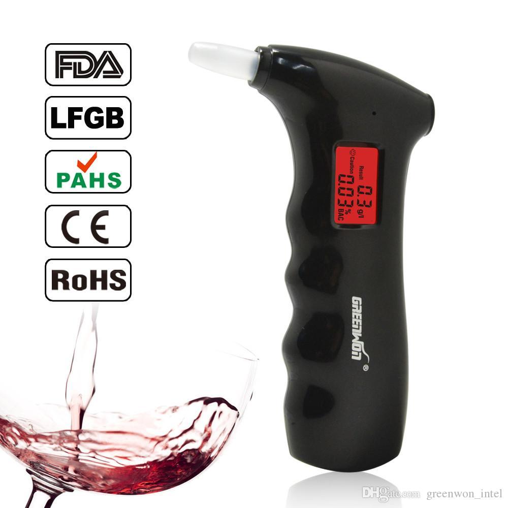 Frete grátis 2018 nova alta precisão Prefessional Polícia Digital Breath Alcohol Tester semicondutor Semicondutor Bafômetro AT65S