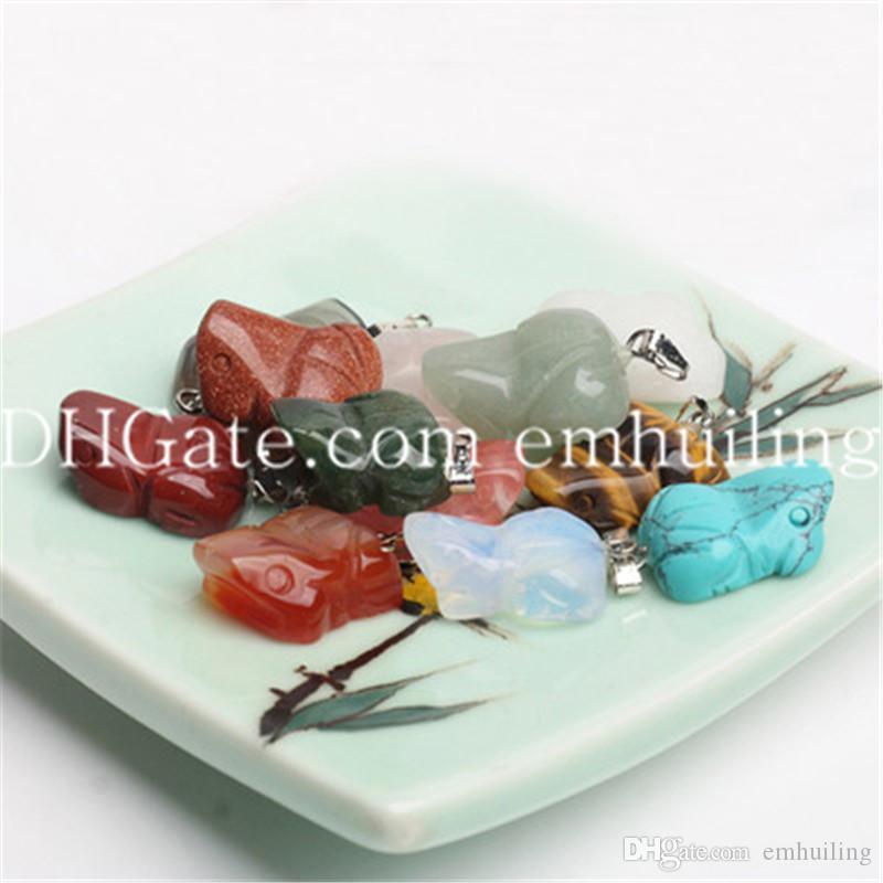 Smei Precious Carved Edelstein Frosch / Kröte Quarz Kristall Anhänger Perle Lot von 12 Petite Tier Charme Naturstein Anhänger Großhandel, 16 * 20 * 7 MM