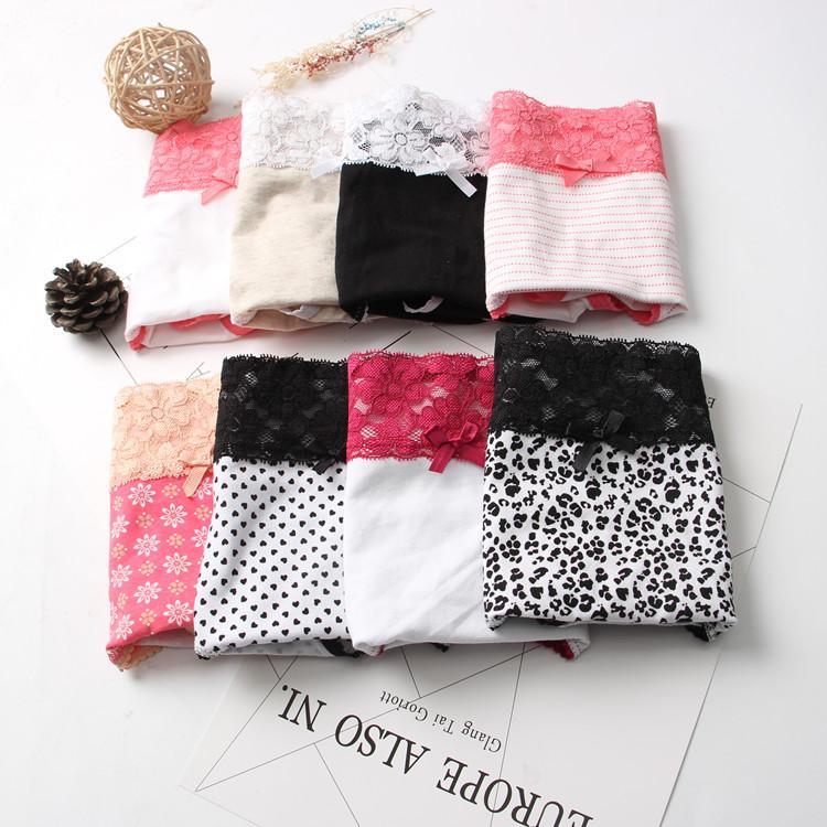 Fat Briefs Multi Color Print Cotton Extra Big Plus Size Brief S-XL Women Elastane Lace Panty Sexy Underwear Panties Shorts H244