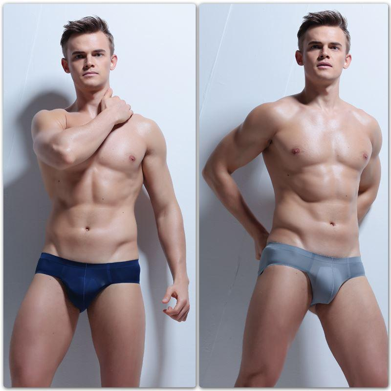 Men Ice Silk Briefs Low Waist Pouch Summer Transparent Underwear Slip Homme Nylon Through Briefs Men Sexy Fashion Underwear