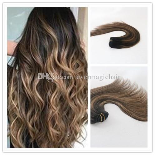 Balayage Colore T1B / 6 Clip di capelli umani dritti per capelli vergini best seller in estensione di capelli 100G per pacco