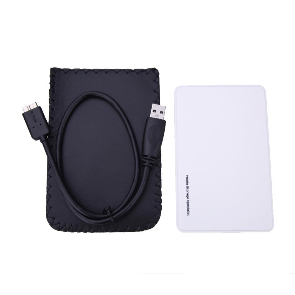 White High Speed USB 3.0 Hard Drive External Enclosure Case 2.5 inch SATA HDD Mobile Disk Box Enclosure Cases for Windows/Mac OS