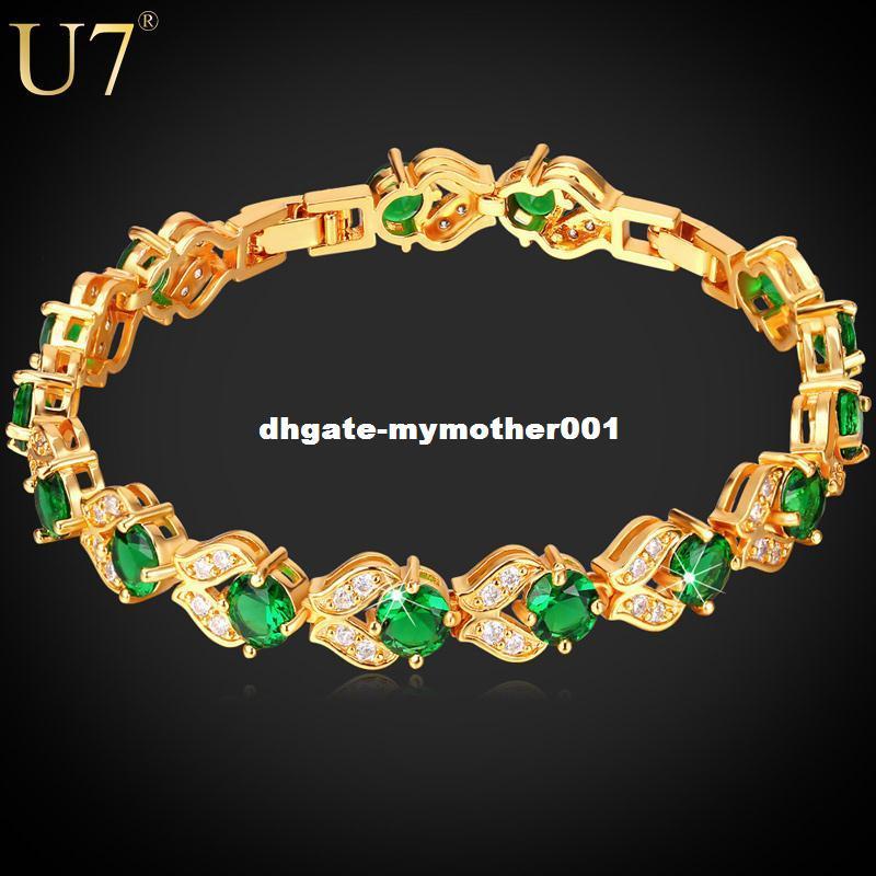 U7 Marca CZ Charm Pulsera Chapado En Oro Sintético Verde Esmeralda Cubic Zirconia Mujeres Joyería de Moda Regalo de San Valentín H689