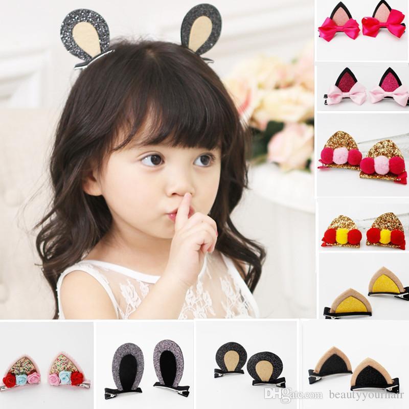 1Set Baby Girls Glitter Cat Ears Hair Clips Flowers Hairpin Kid Hair Accessories