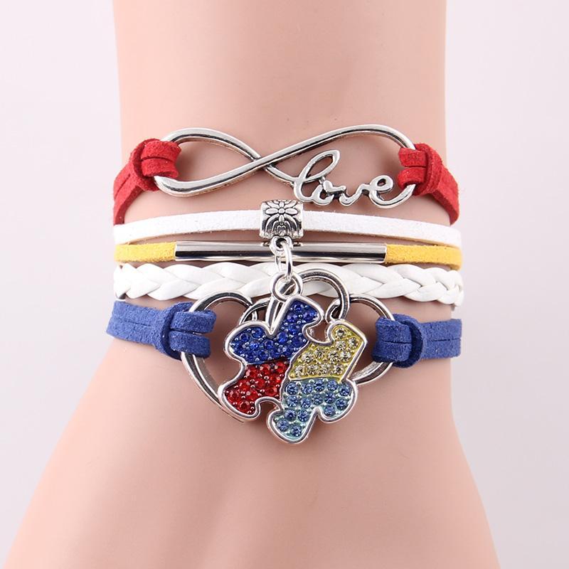 Wholesale-Infinity Love Hope Authisme Sensibilisation Bracelet Strass Puce Puce Charme Bracelets Bracelets Pour Femmes Hommes Bijoux